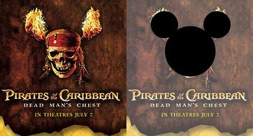 Ad for Disney's Pirates of the Caribbean with subliminal message using shape of Mickey Mouse's ears